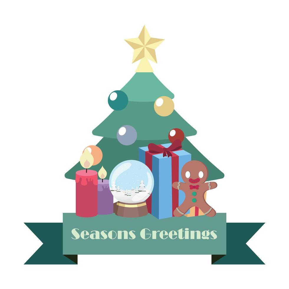Jahreszeiten-Begrüßungsbanner mit Weihnachtselementen vektor
