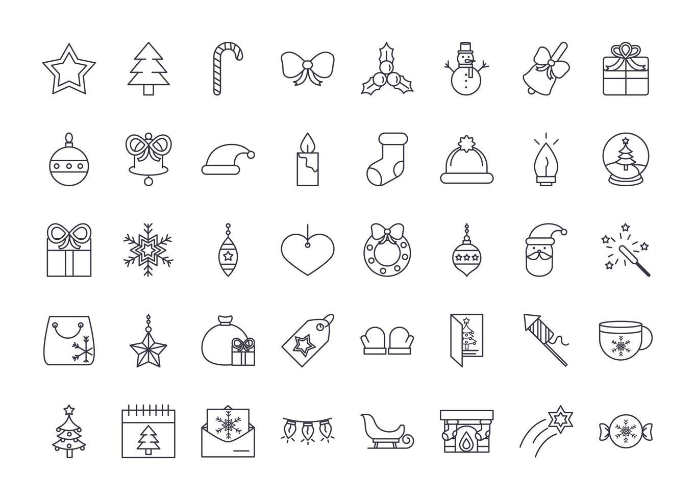 jul linje ikonuppsättning vektor