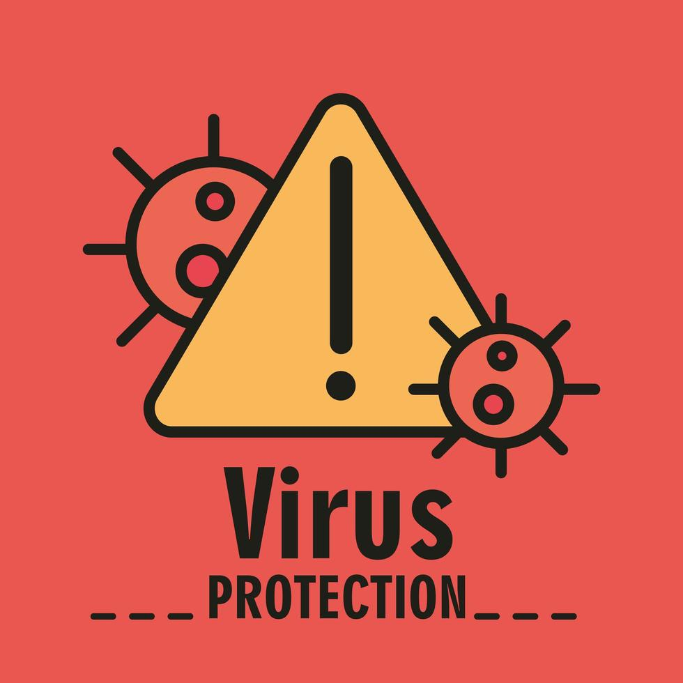 Coronavirus-Schutz mit Warnschild vektor