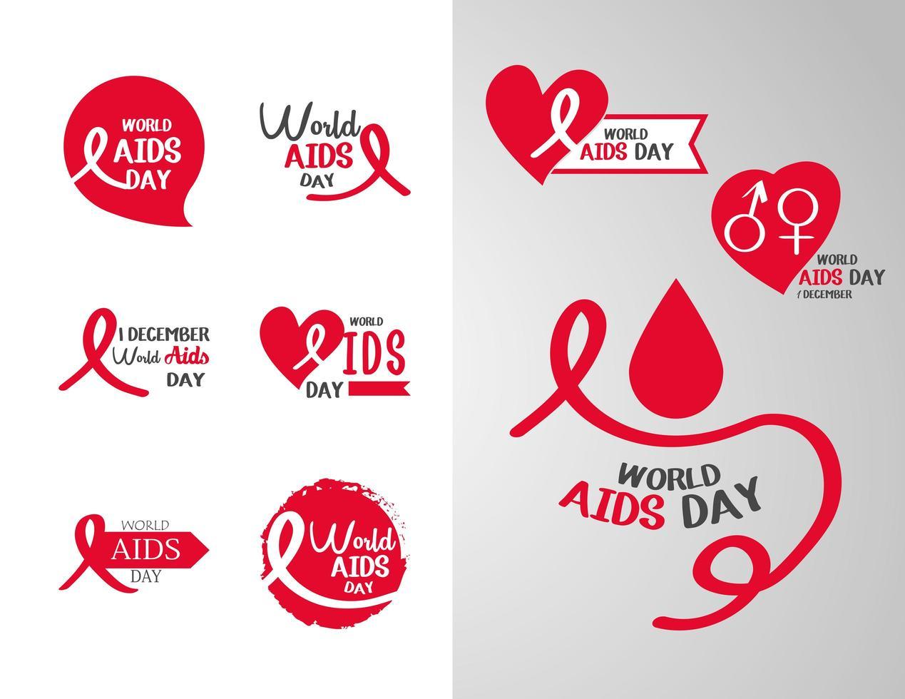 World Aids Day Awareness Icon Sammlung vektor