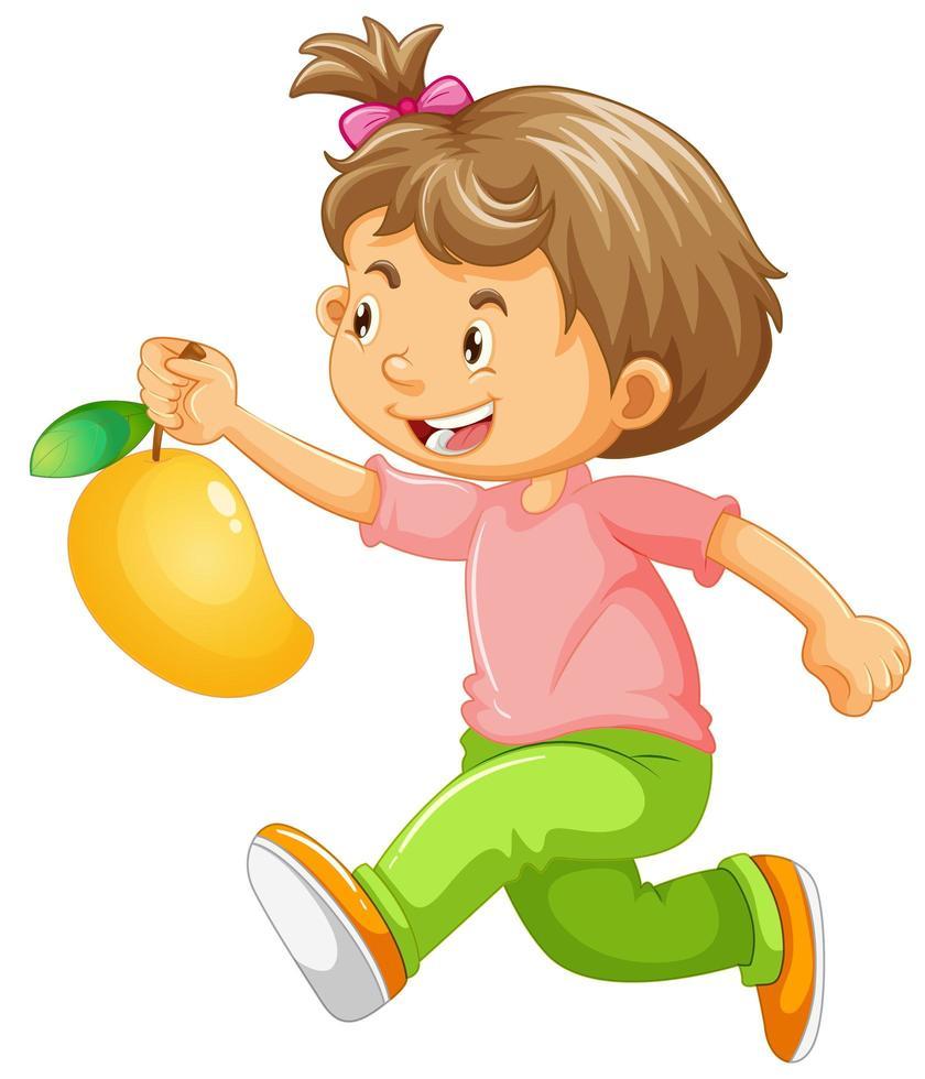 laufendes Mädchen, das Mango hält vektor