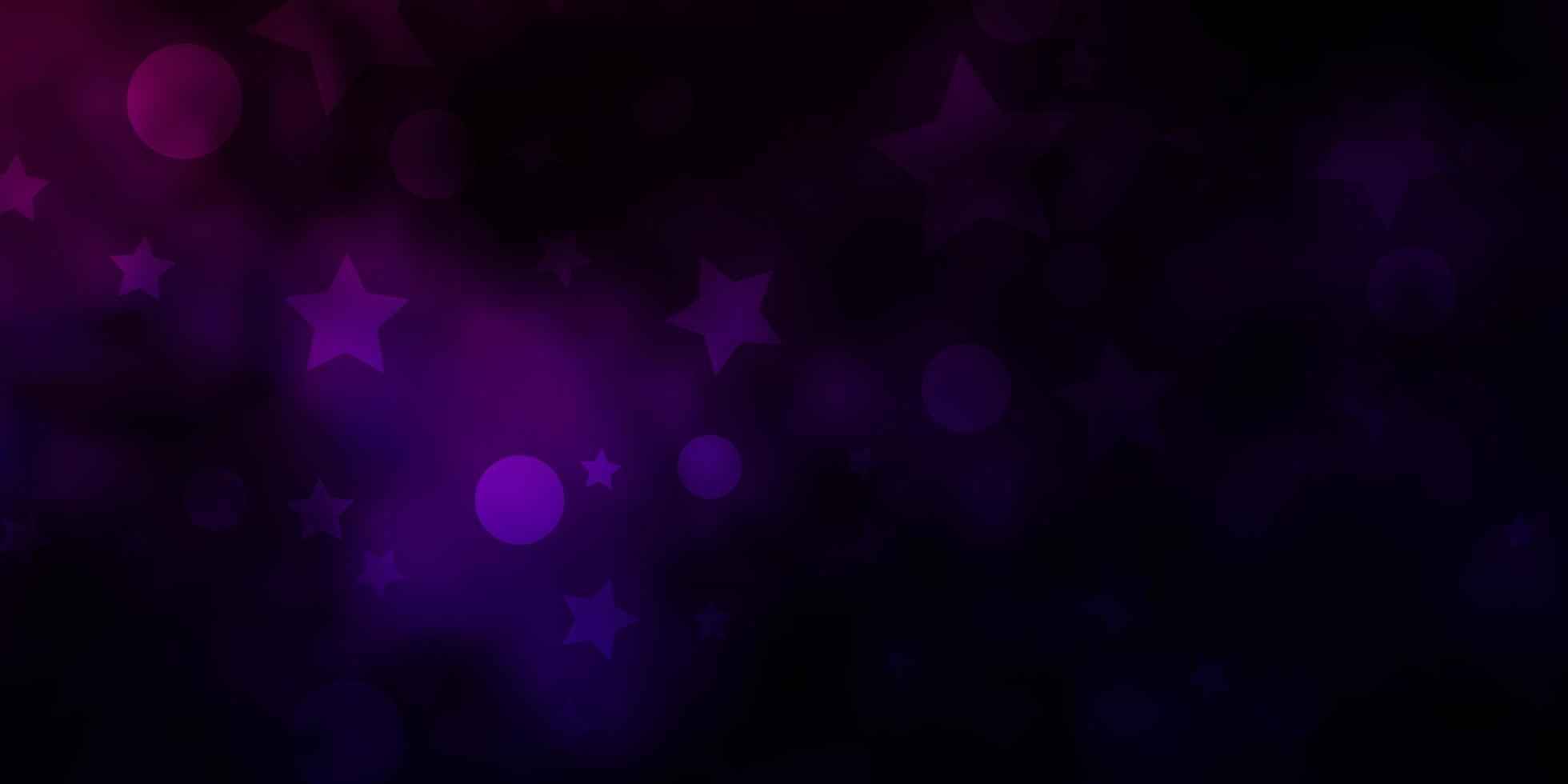 mörk lila layout med cirklar och stjärnor. vektor