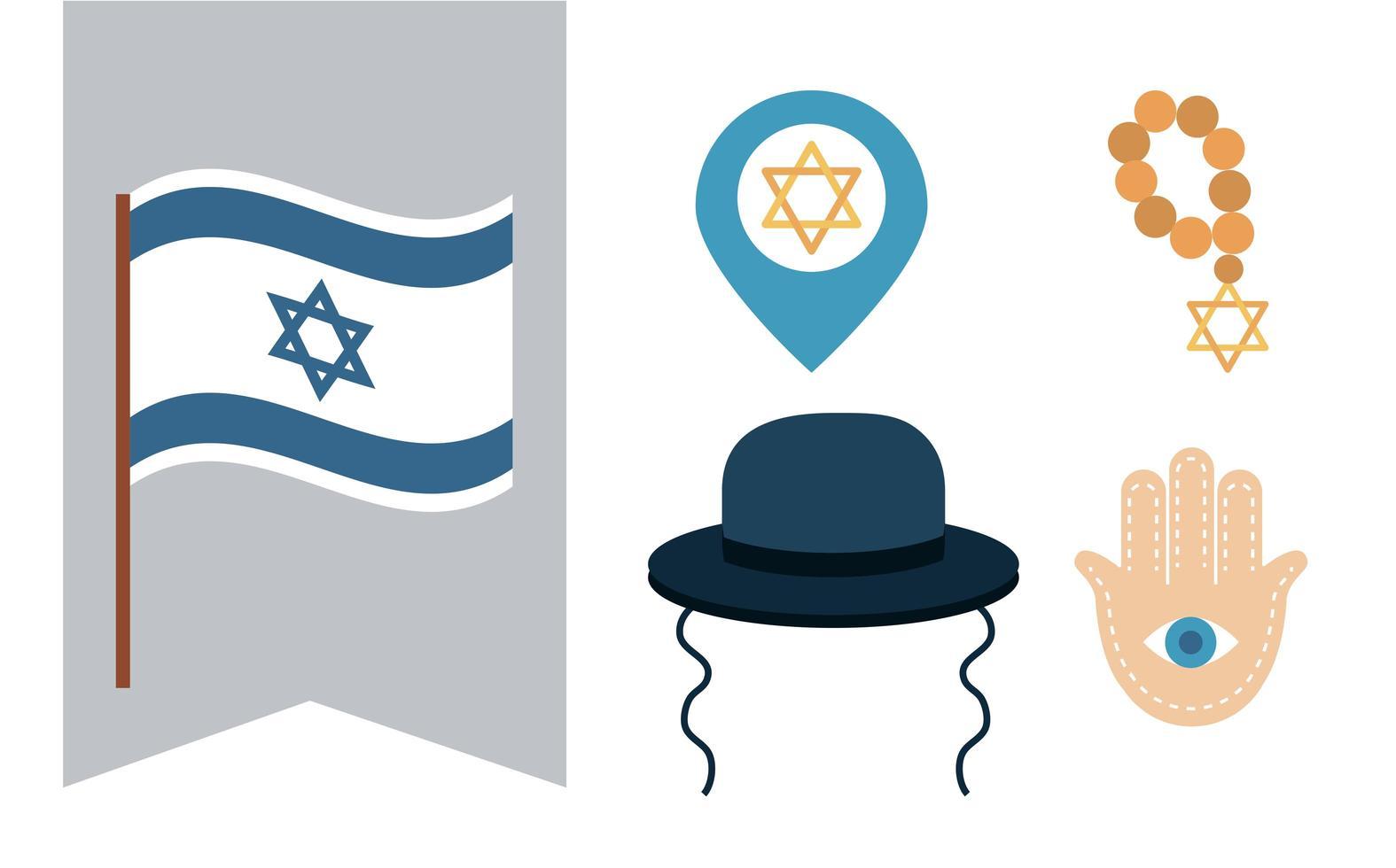 hanukkah, judisk traditionell ceremoni platt ikonuppsättning vektor