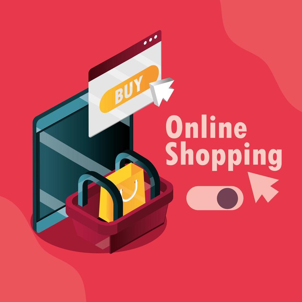 online shopping och e-handel isometrisk sammansättning vektor