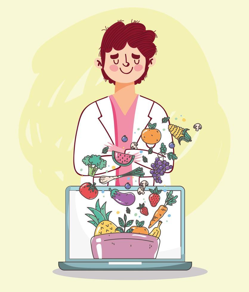 dietistläkare med bärbar dator och färsk, hälsosam mat vektor