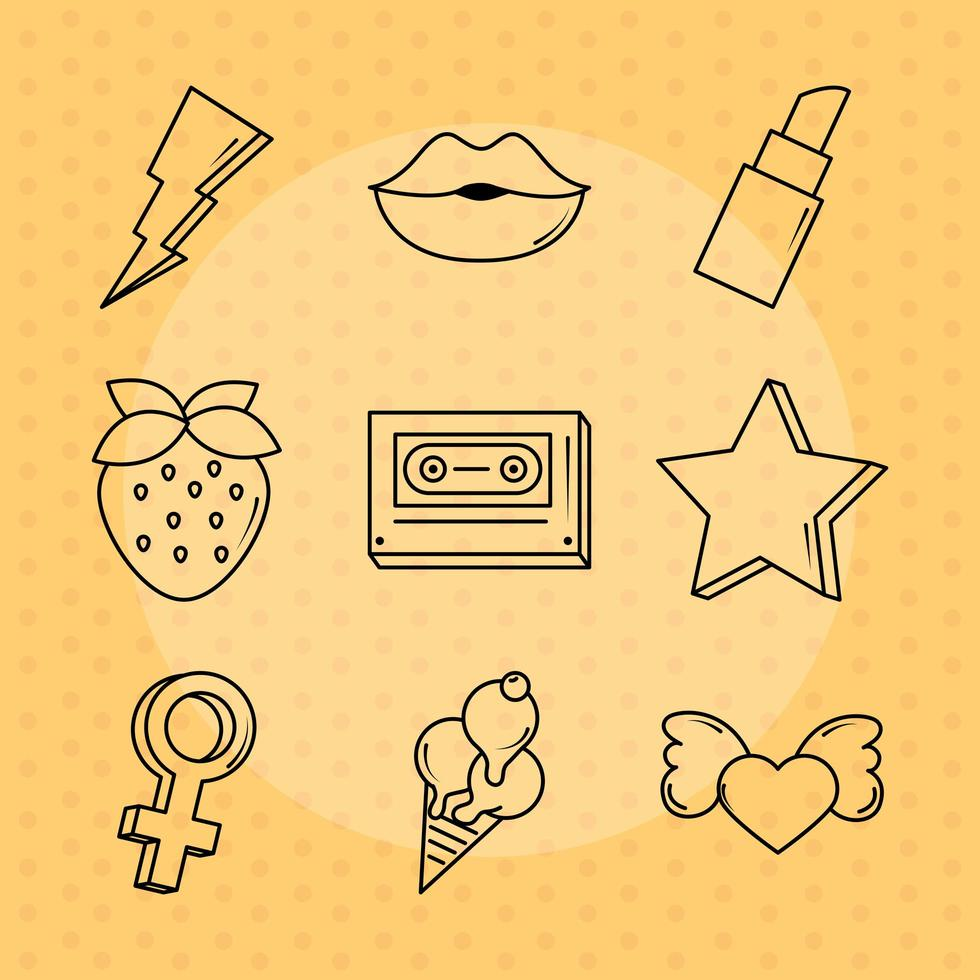 Pop Art und Comic Icon Set vektor