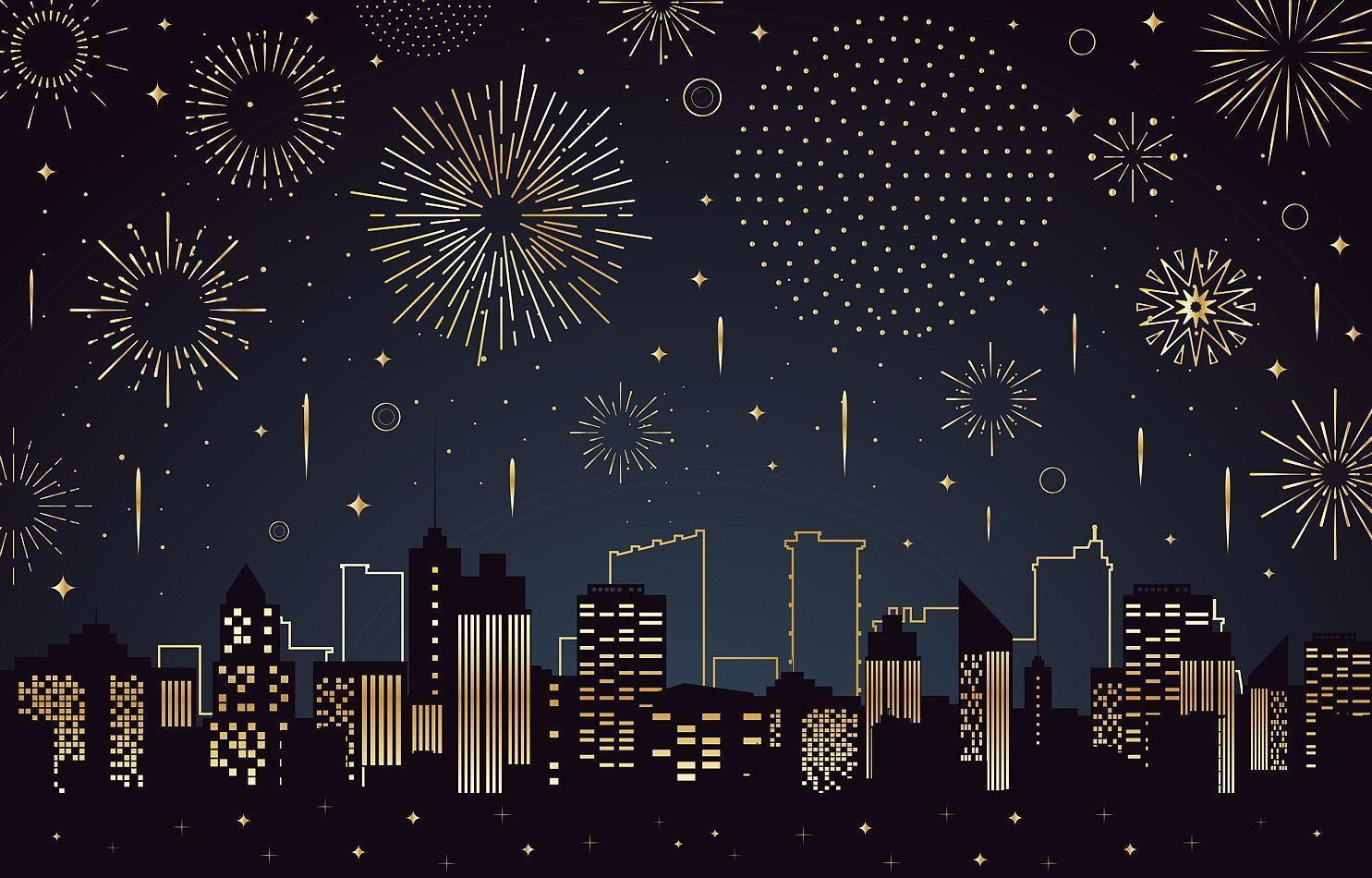 Landschaft des Feuerwerks über einer Stadtgebäudeschattenbild vektor
