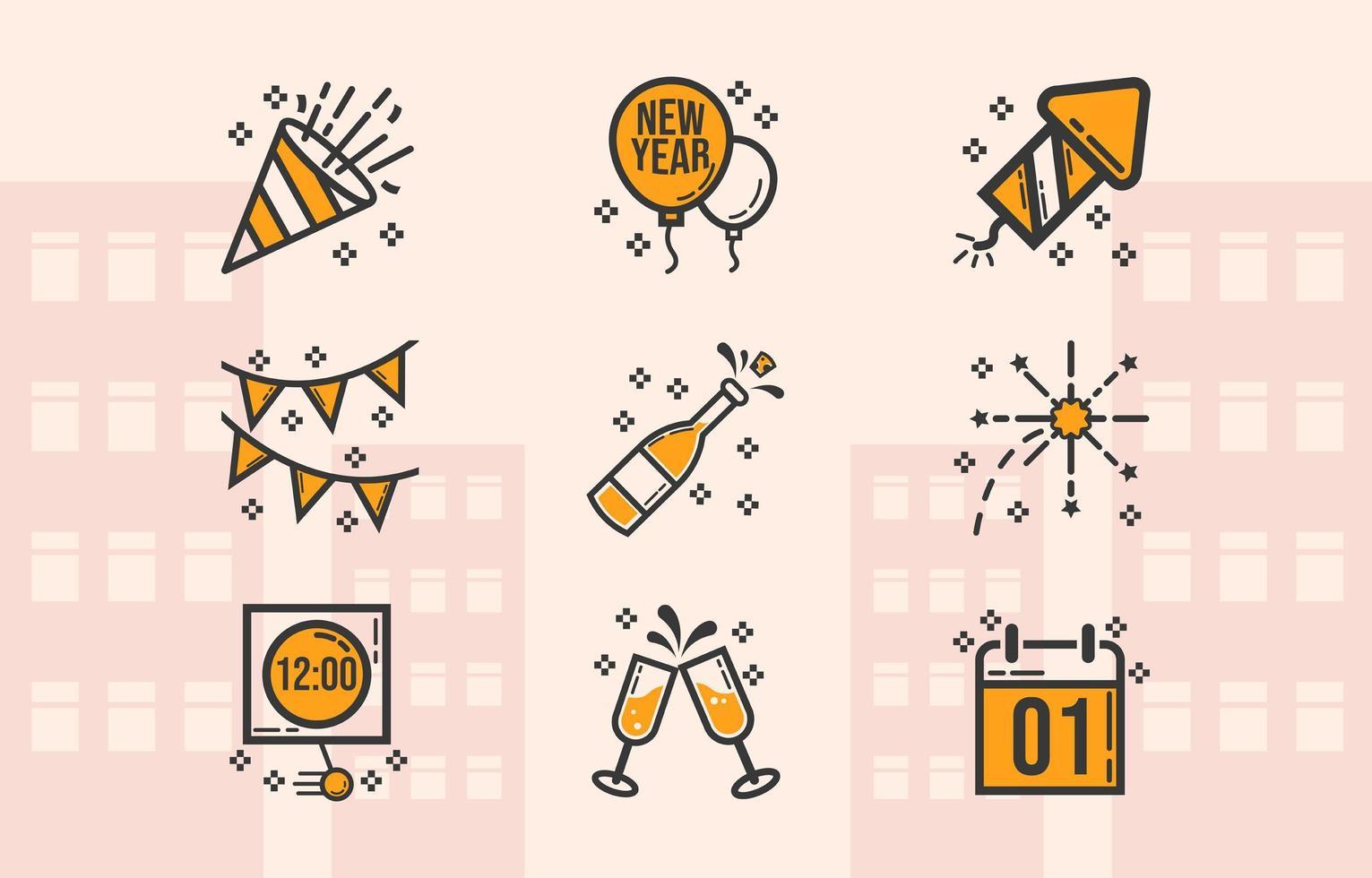 einfach feiern Neujahr Icon Pack vektor