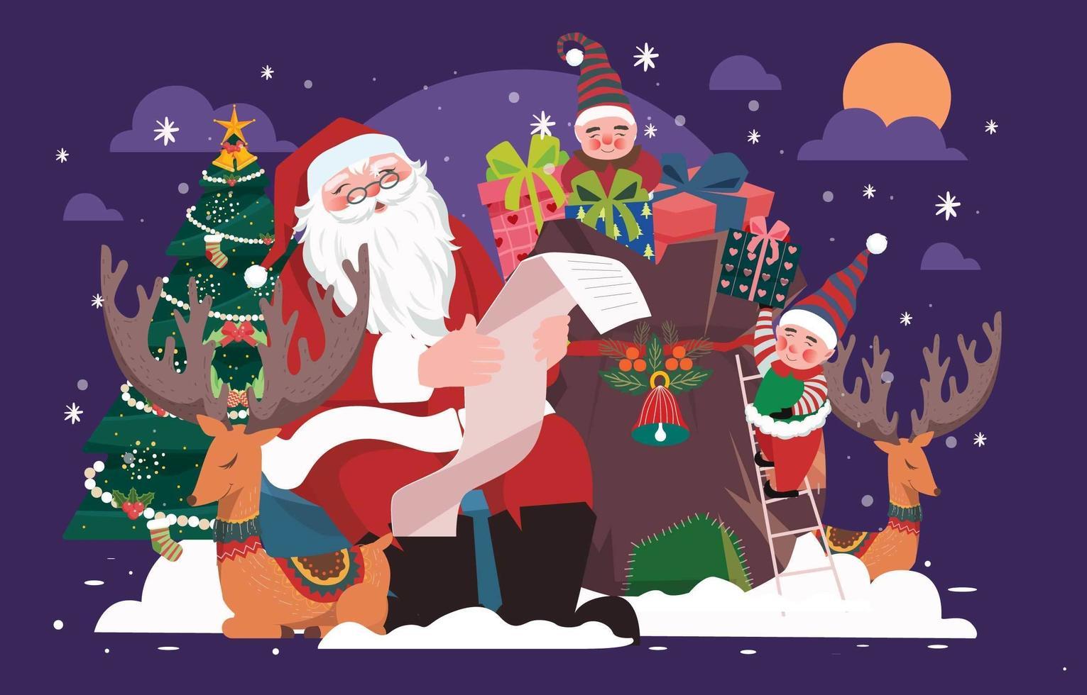 Santa mit Helfern und einer Weihnachtsgeschenkliste vektor