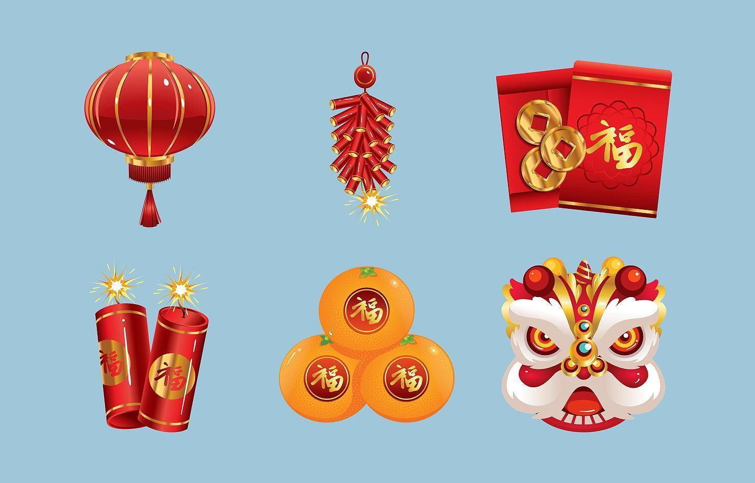 kinesiska nyårsfest ikon vektor