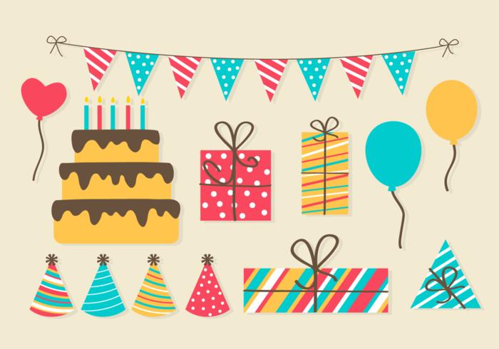Gratis-Geburtstags-Party-Elemente vektor