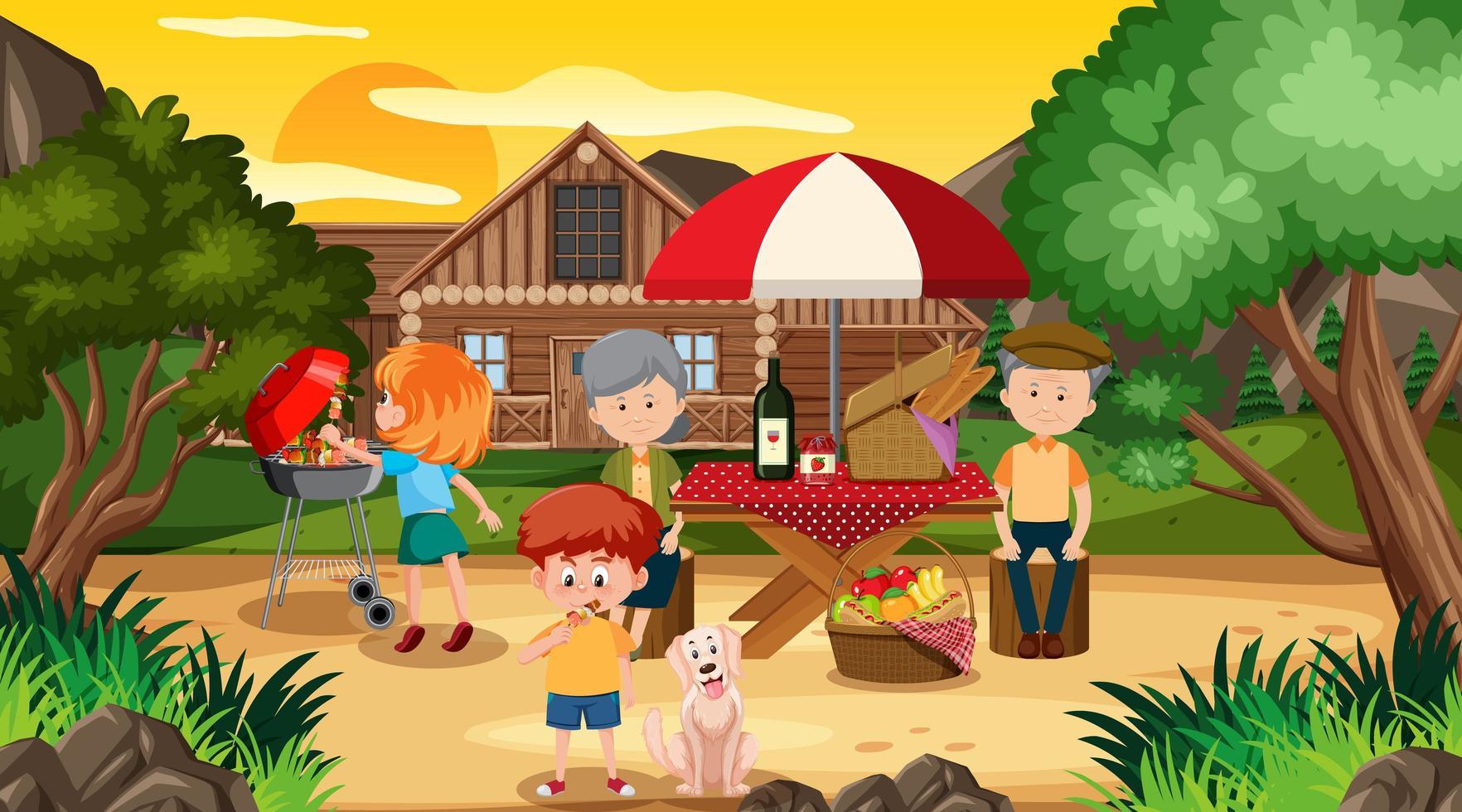 picknickplats med lycklig familj framför huset vektor