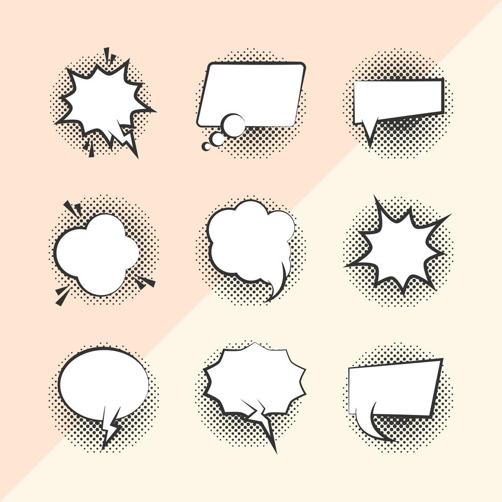 Pop-Art-Stil Sprechblasen Icon Set vektor