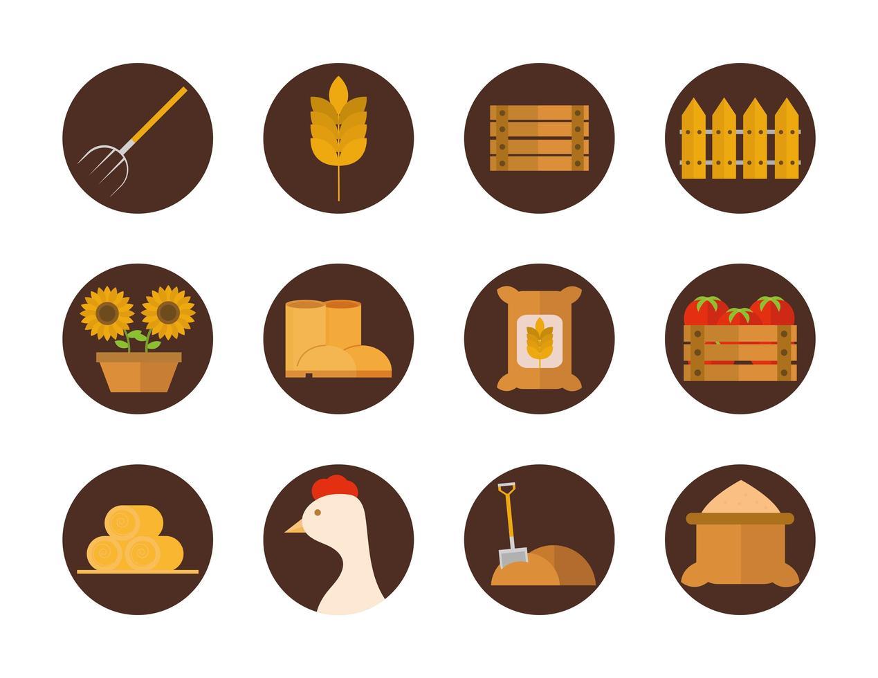 Landwirtschaft und Landwirtschaft Flat Icon Set vektor