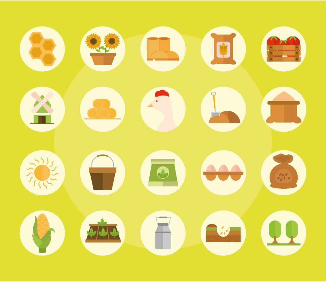 jordbruk och jordbruk platt ikonuppsättning vektor