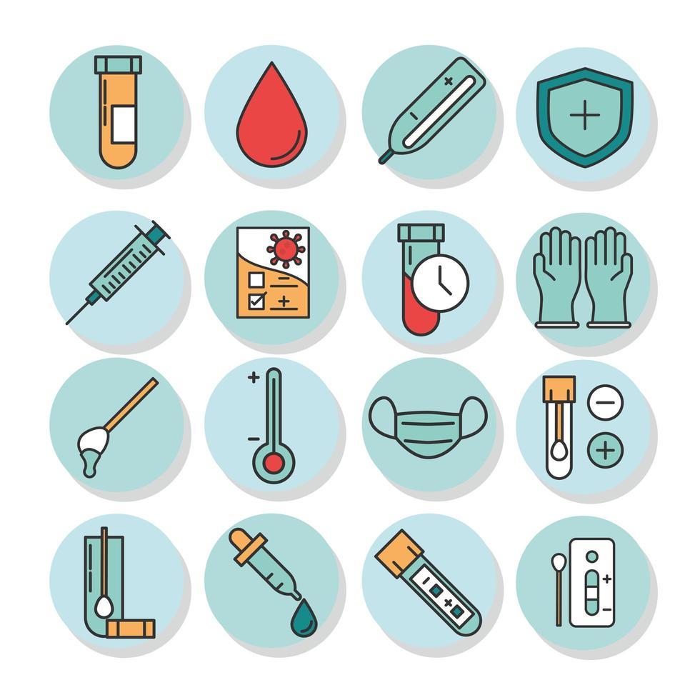 coronavirus diagnostik och forskning ikonuppsättning vektor