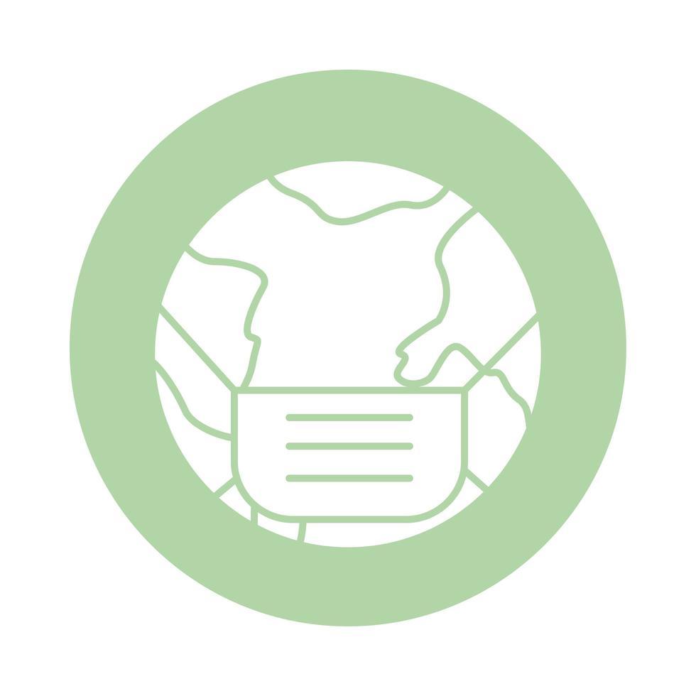 världsplanet med ansiktsmask tillbehör block siluett stil vektor