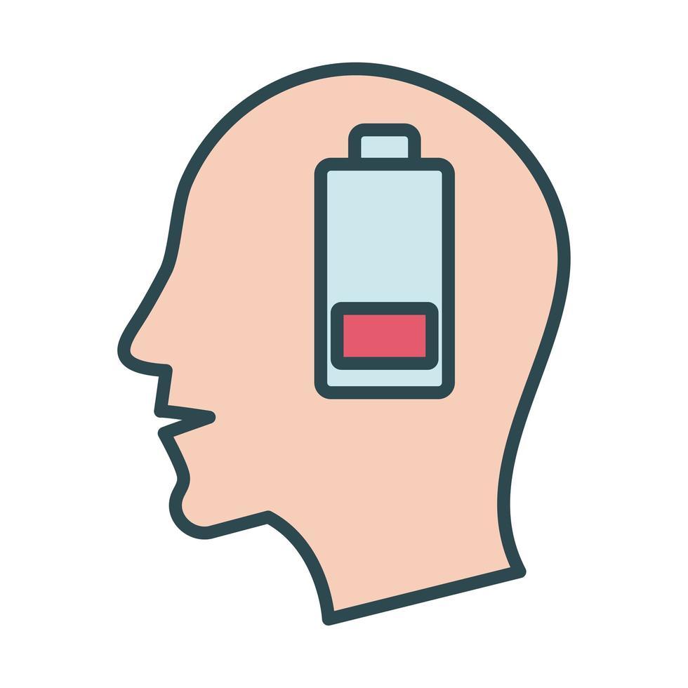 profilhuvud med stilikon för låg batterifyllning vektor