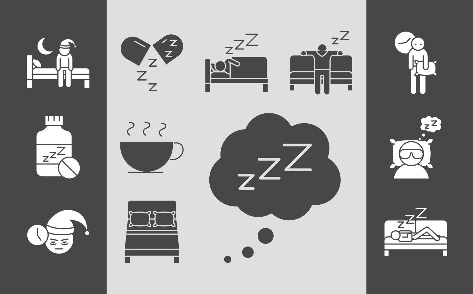 Schlafqualität Silhouette Icon Set vektor