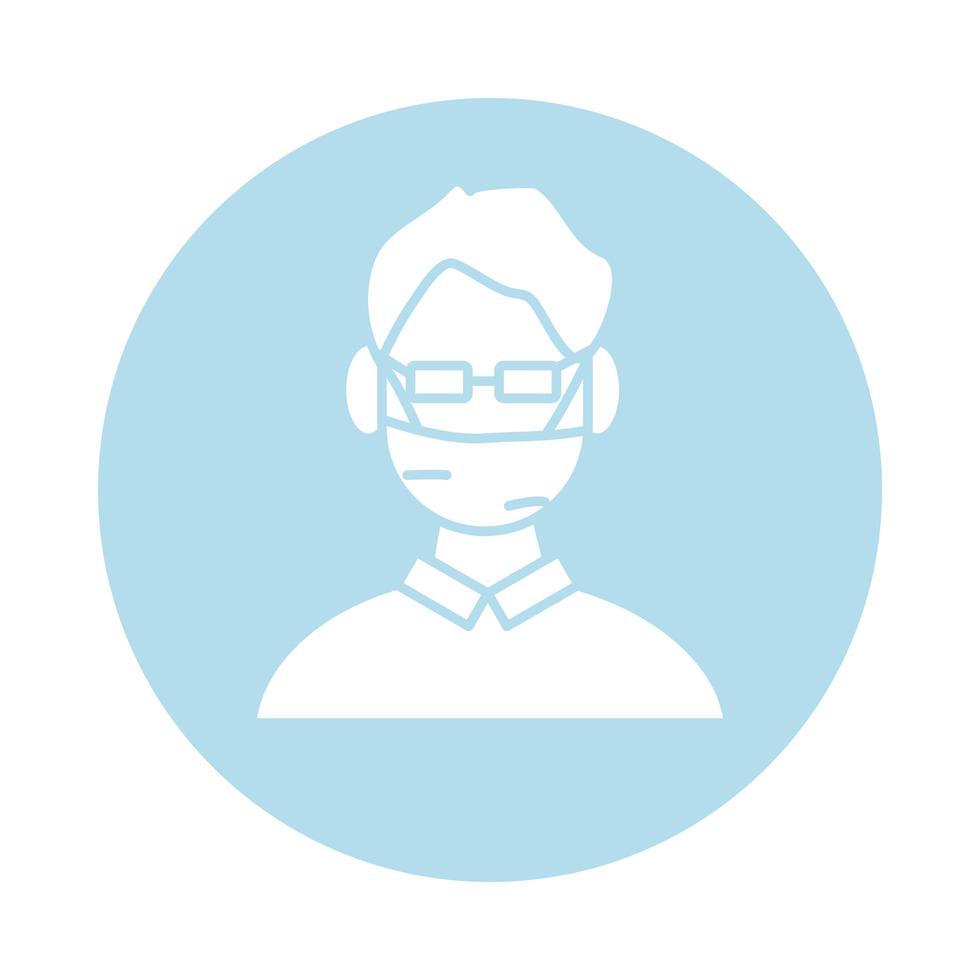 Mann mit Gesichtsmaske Block Silhouette und füllen Stil Symbol vektor