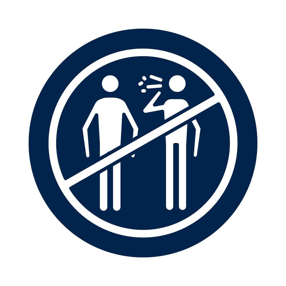 Personen, die krank im verweigerten Symbolblock-Silhouette-Stil husten vektor