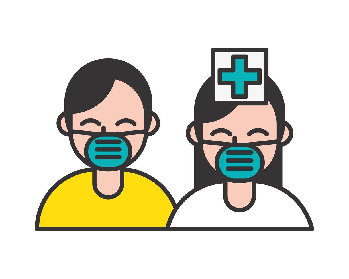 Krankenschwester und Patient mit medizinischen Masken vektor