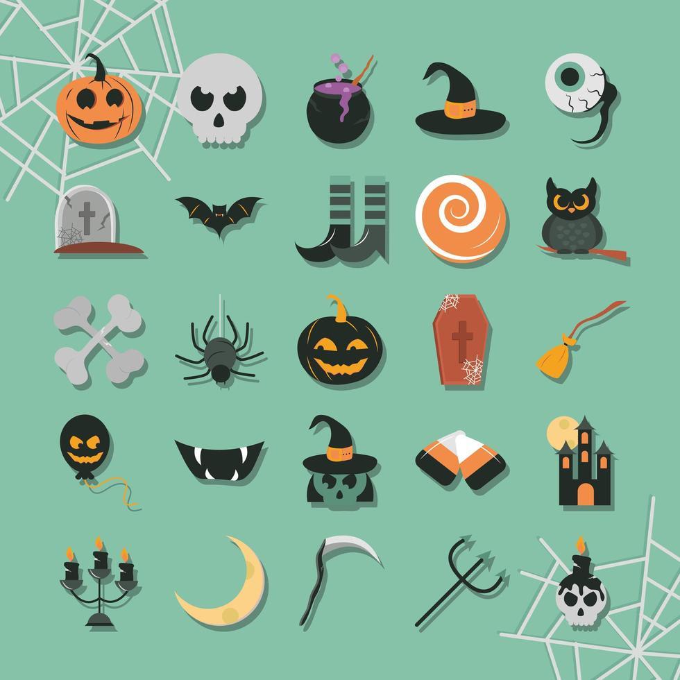 halloween firande platt ikonuppsättning vektor