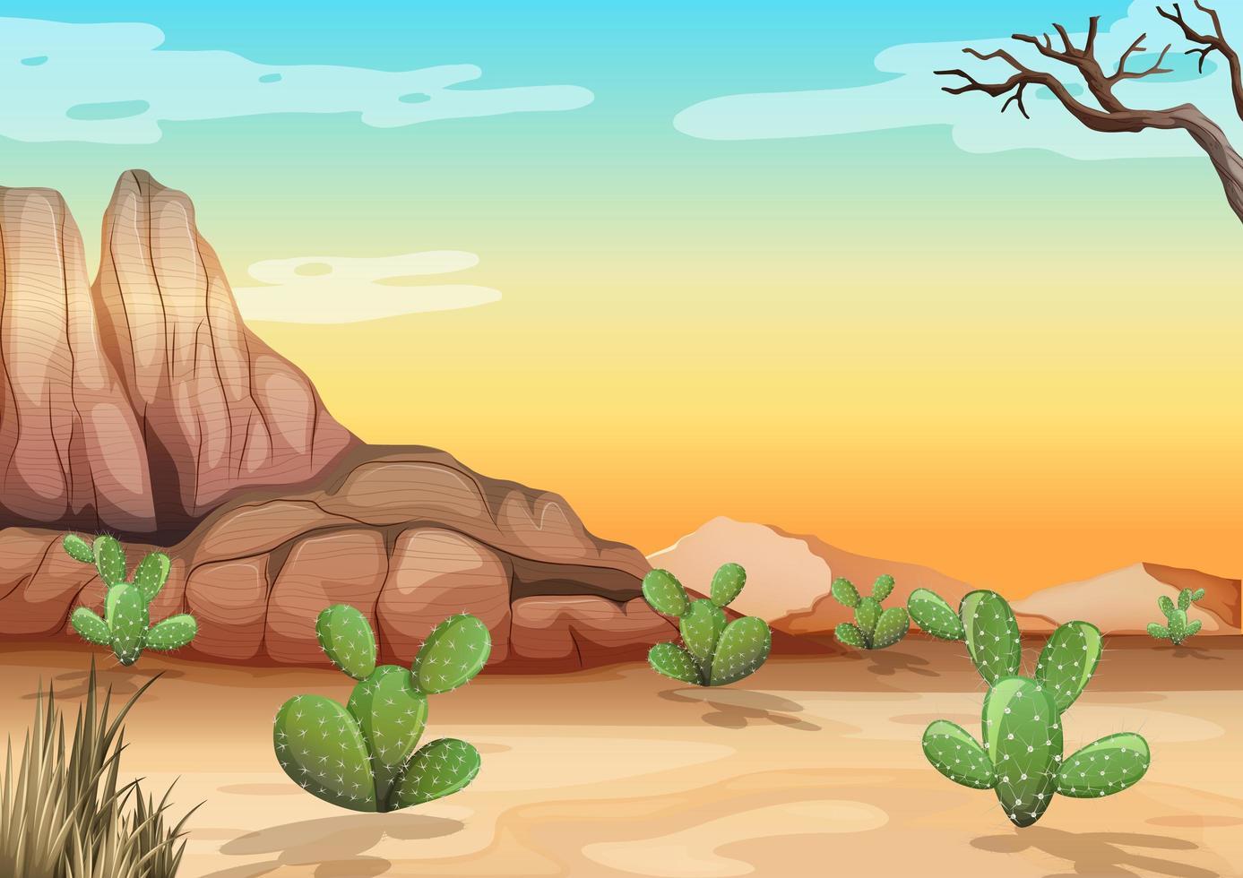 öken med klippberg och kaktus vektor