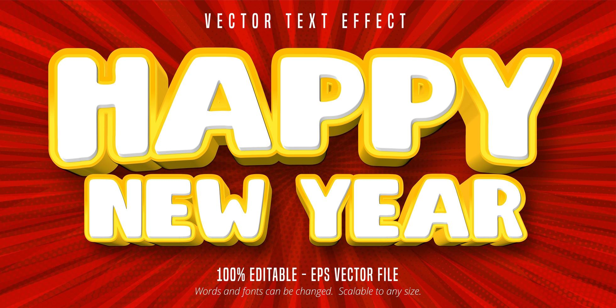 Frohes neues Jahr bearbeitbarer Texteffekt vektor
