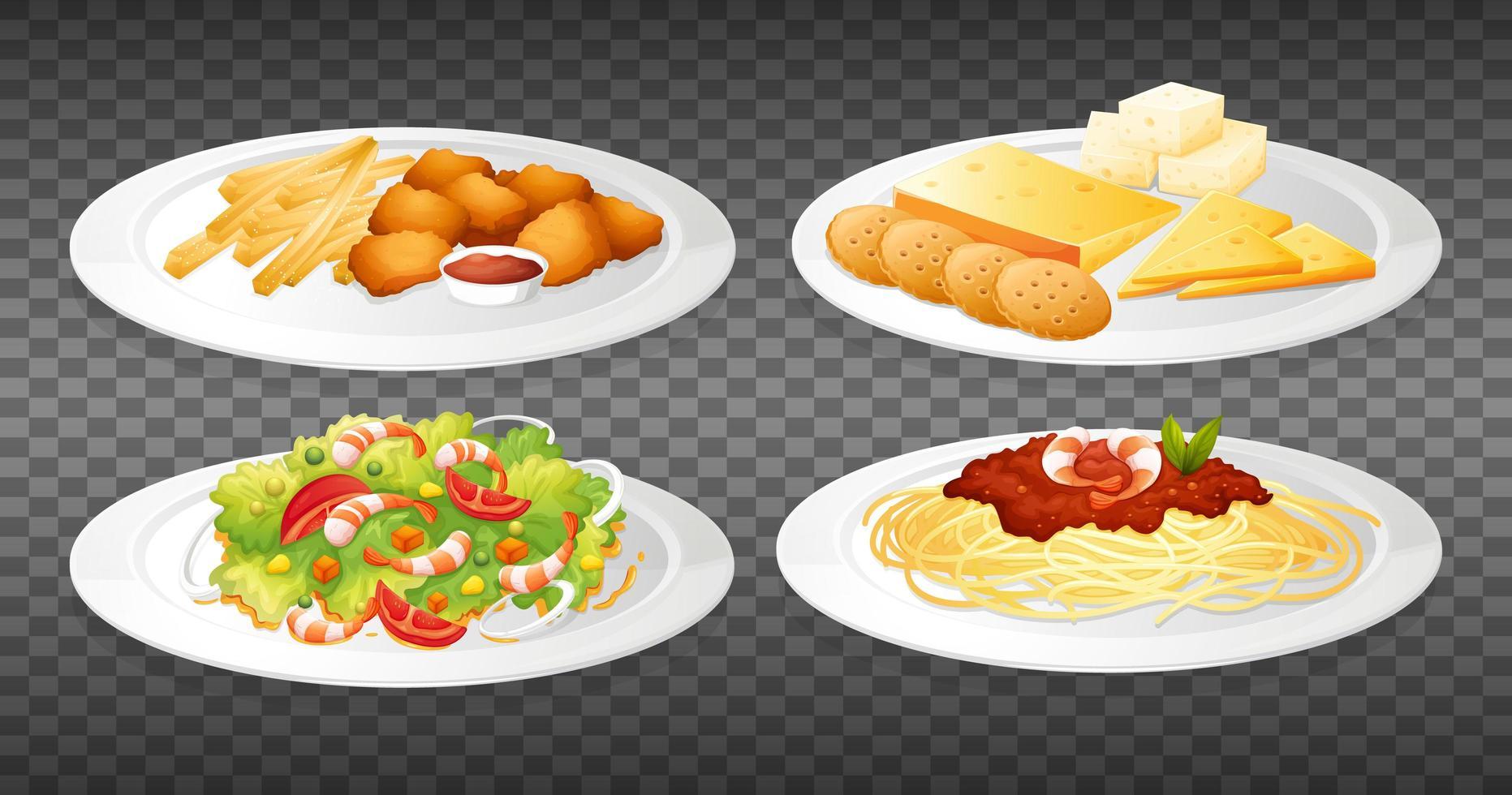 uppsättning mat tallrikar vektor
