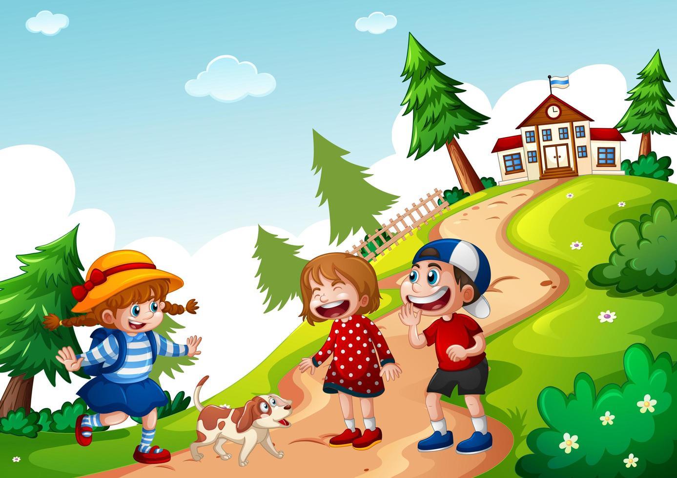 glada tre barn går till skolan scen vektor