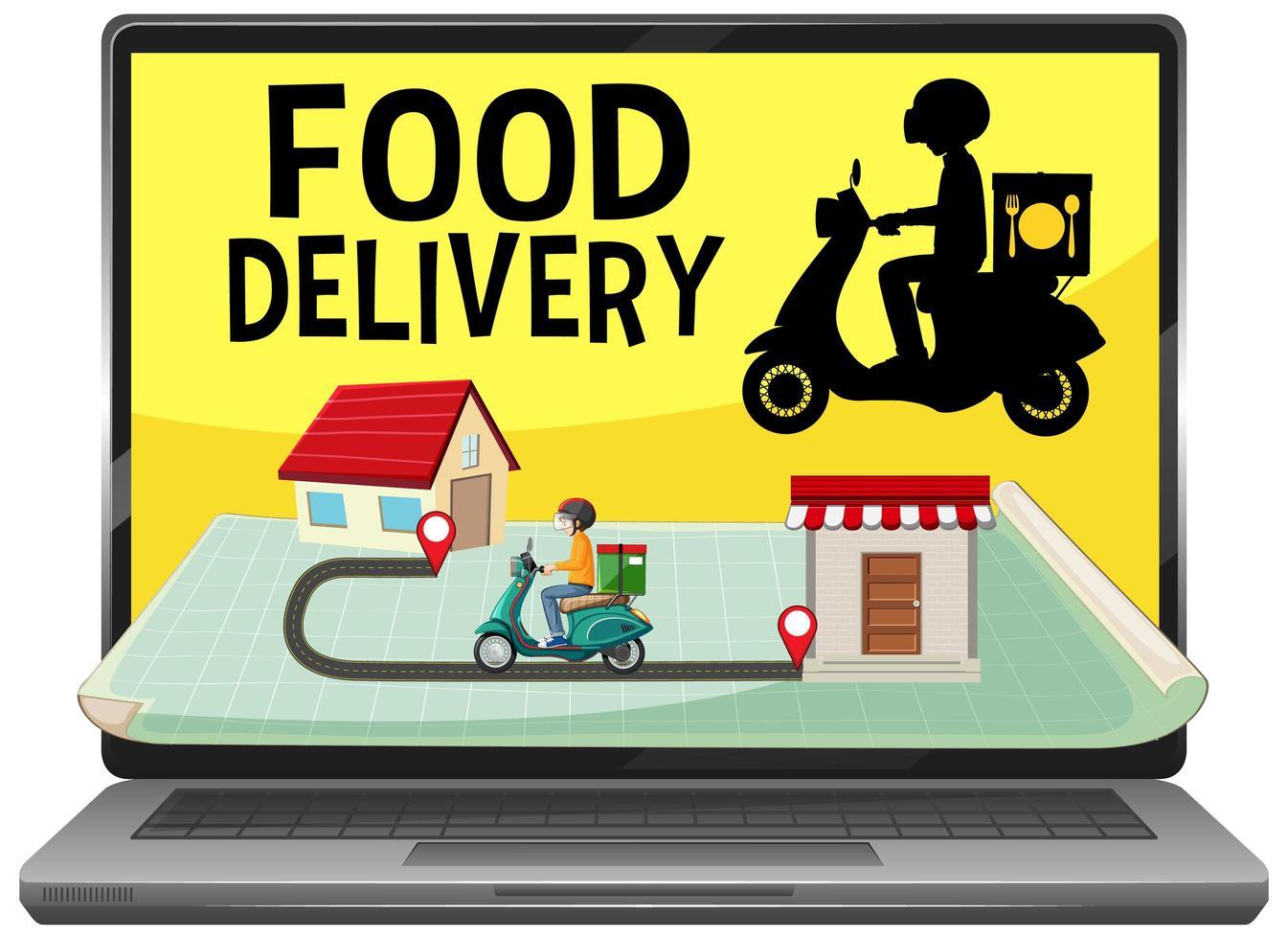 Anwendung zur Lieferung von Lebensmitteln auf dem Bildschirm vektor