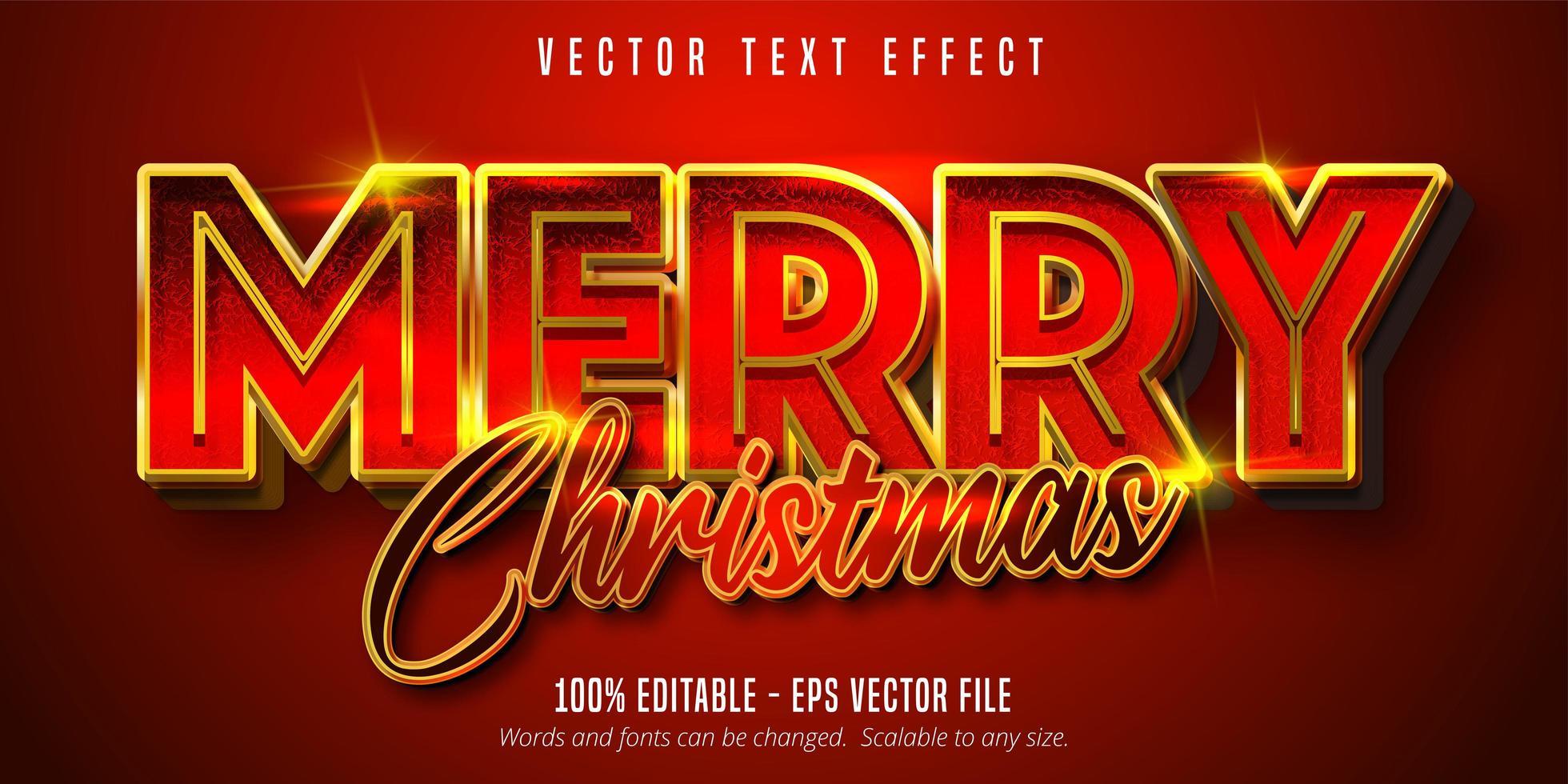god jultext, lyxig gyllene stil redigerbar texteffekt på röd färgbakgrund vektor