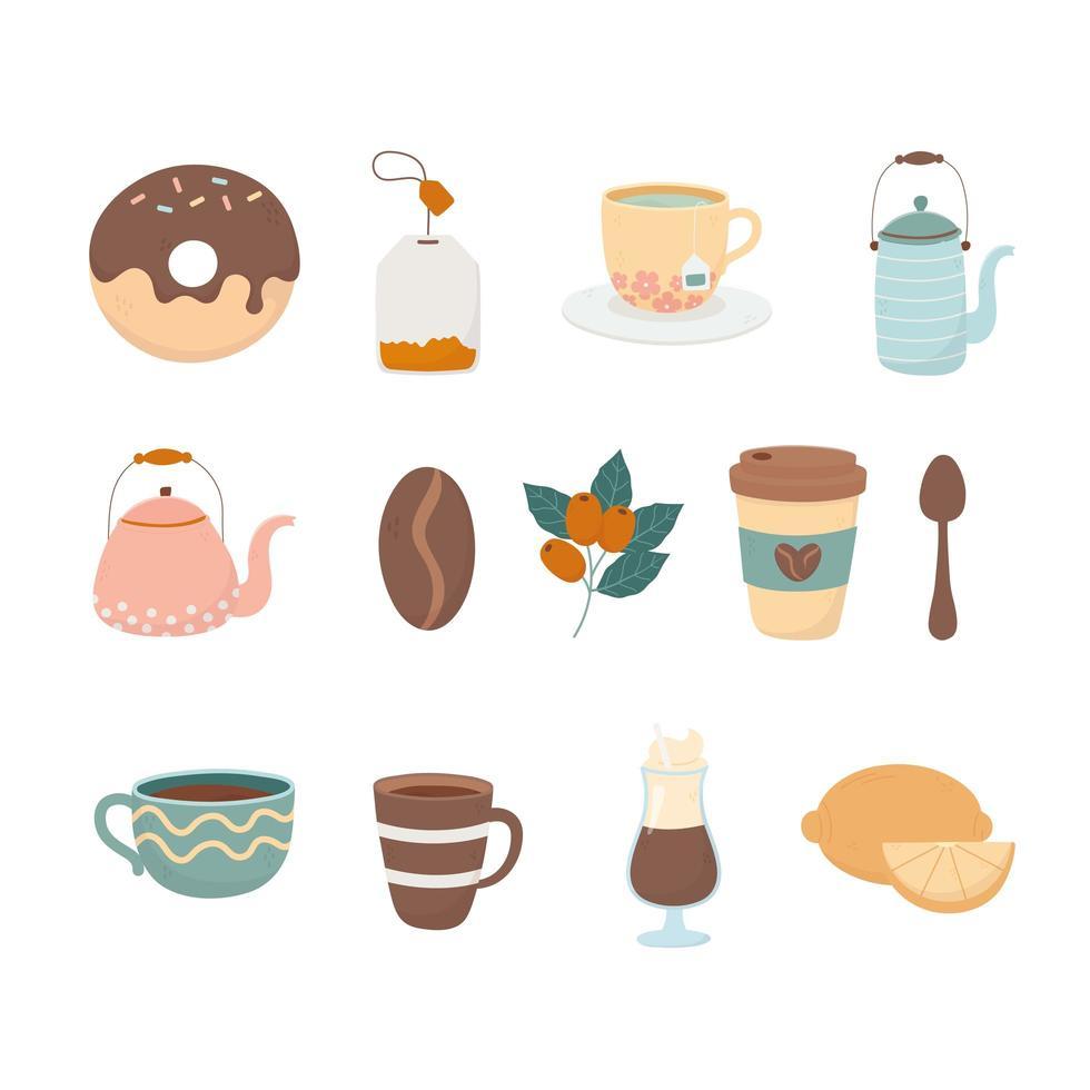 kaffe och te tid ikonuppsättning vektor