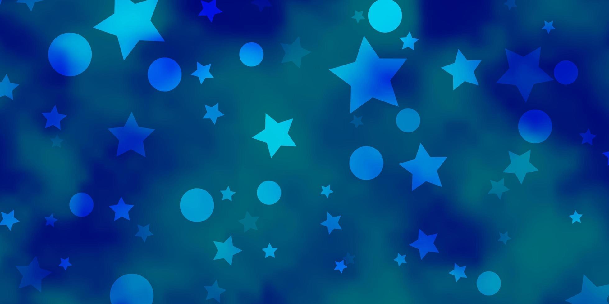 blått mönster med cirklar, stjärnor. vektor
