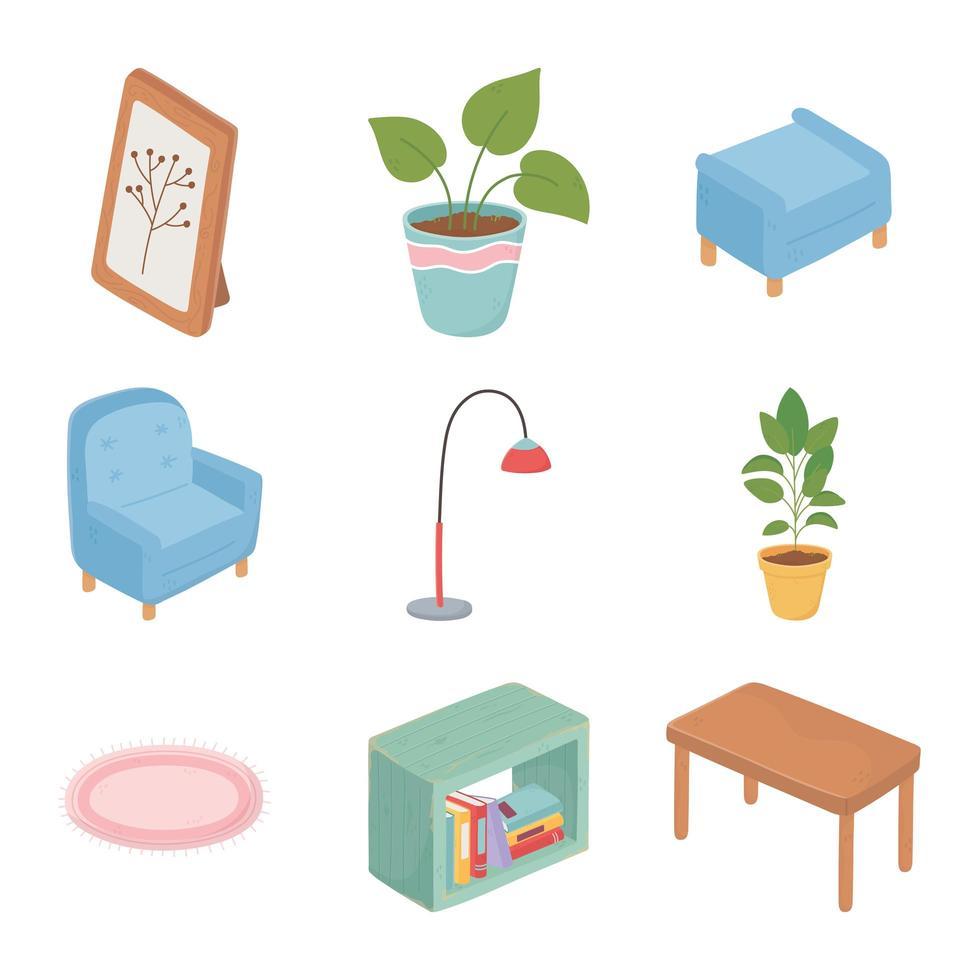 söta hemmöbler och dekor ikonuppsättning vektor