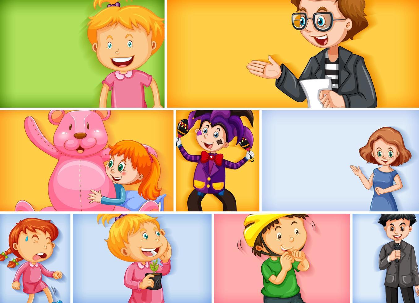 uppsättning av olika ungtecken på olika färgbakgrund vektor