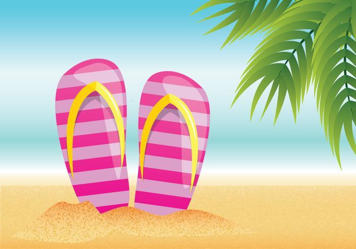 Flip flop sommar strand vektor