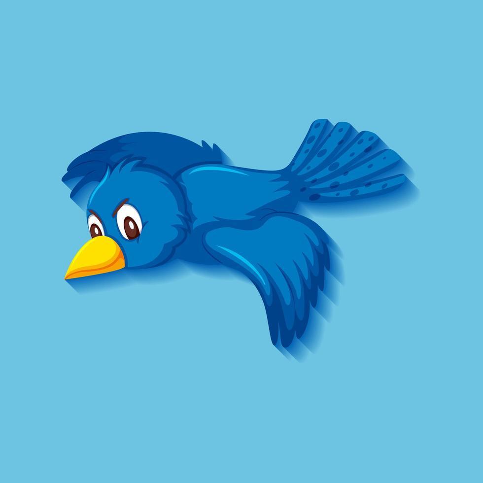 söt blå fågel seriefigur vektor