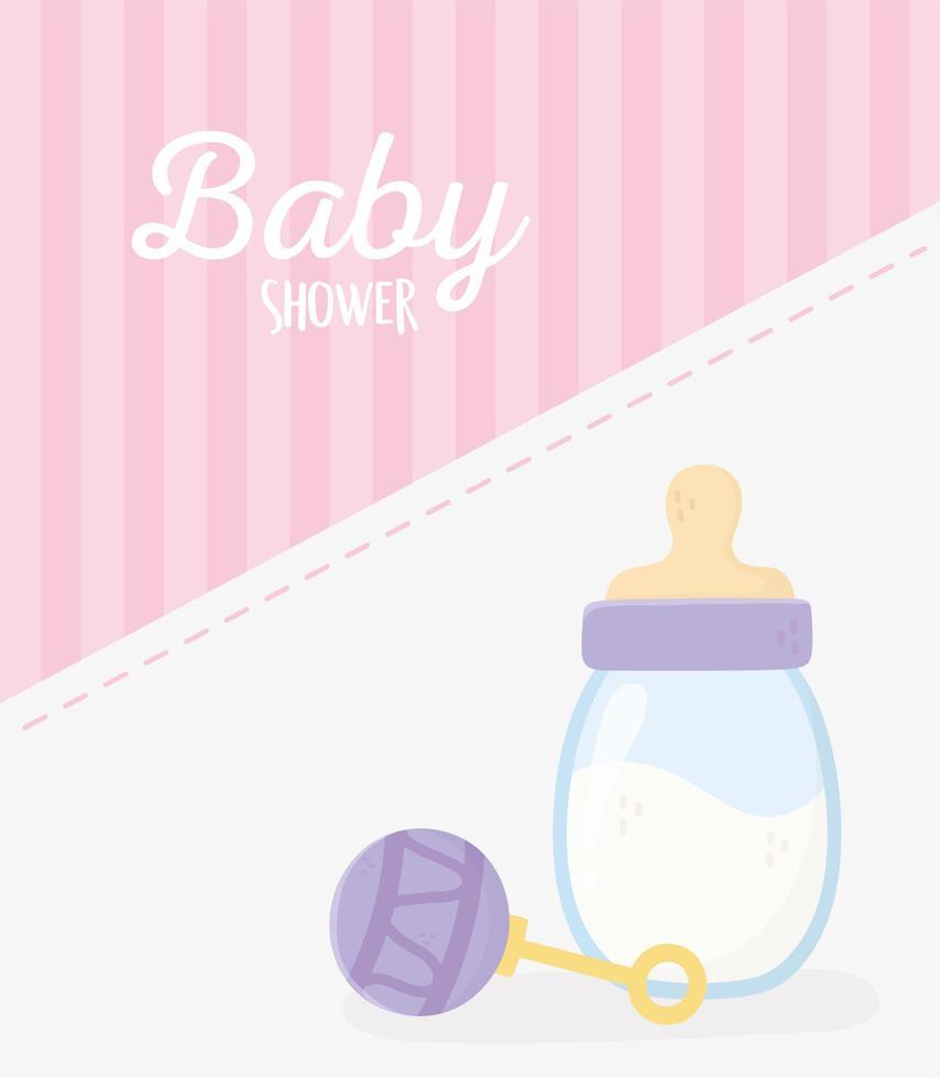 rosa Karte der Babyparty mit Babyikonen vektor