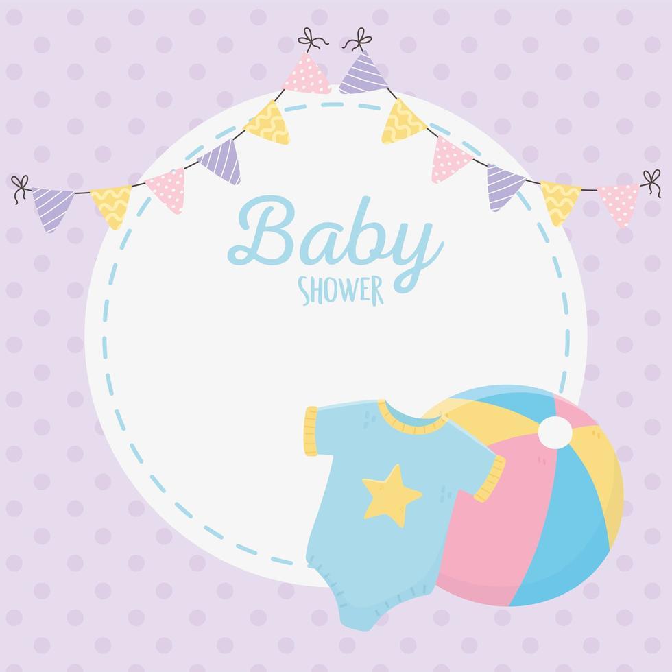 Babypartykarte mit Babyikonen vektor