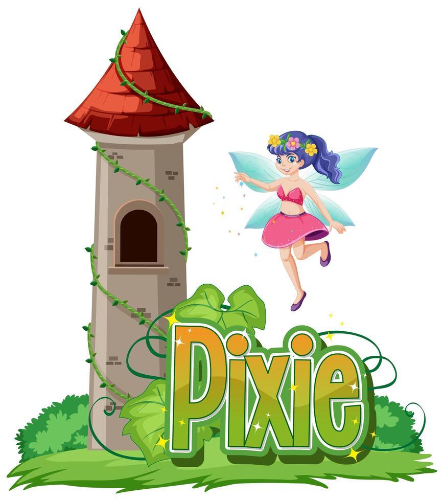 Pixie-Logo mit Fee und Schloss vektor