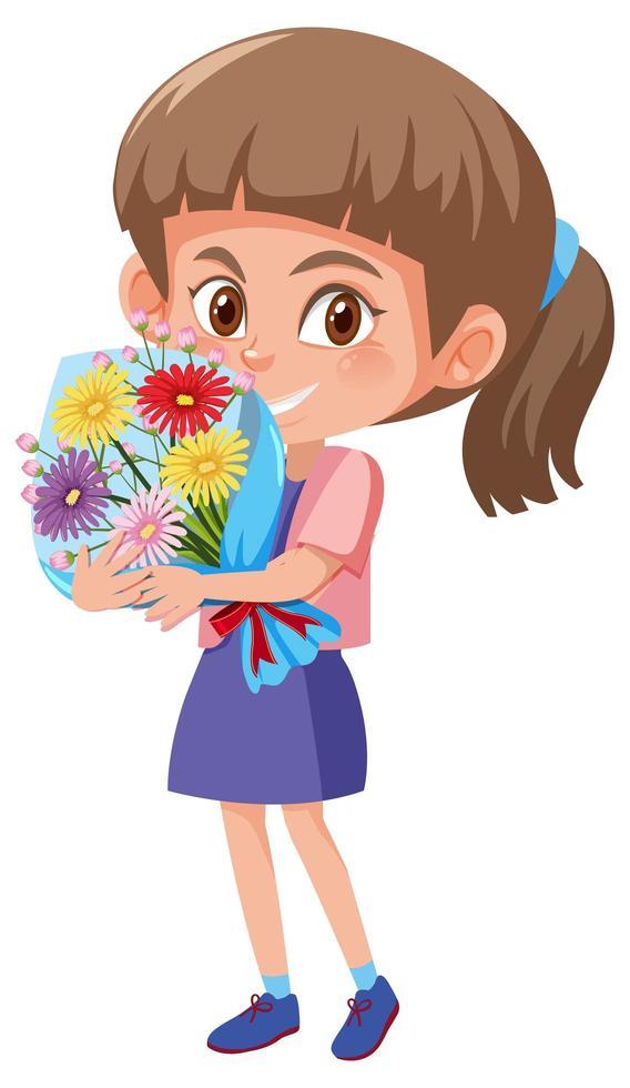 Mädchen hält Blumenstrauß vektor