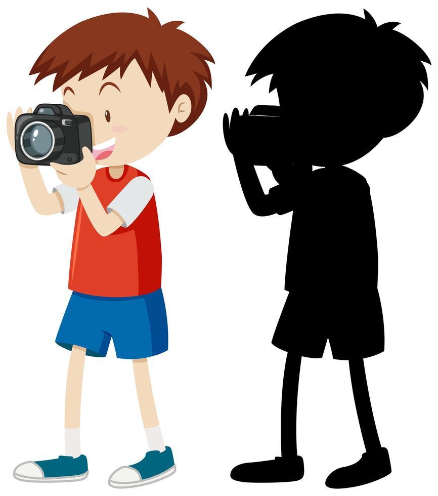 Junge, der ein Foto mit seiner Silhouette macht vektor