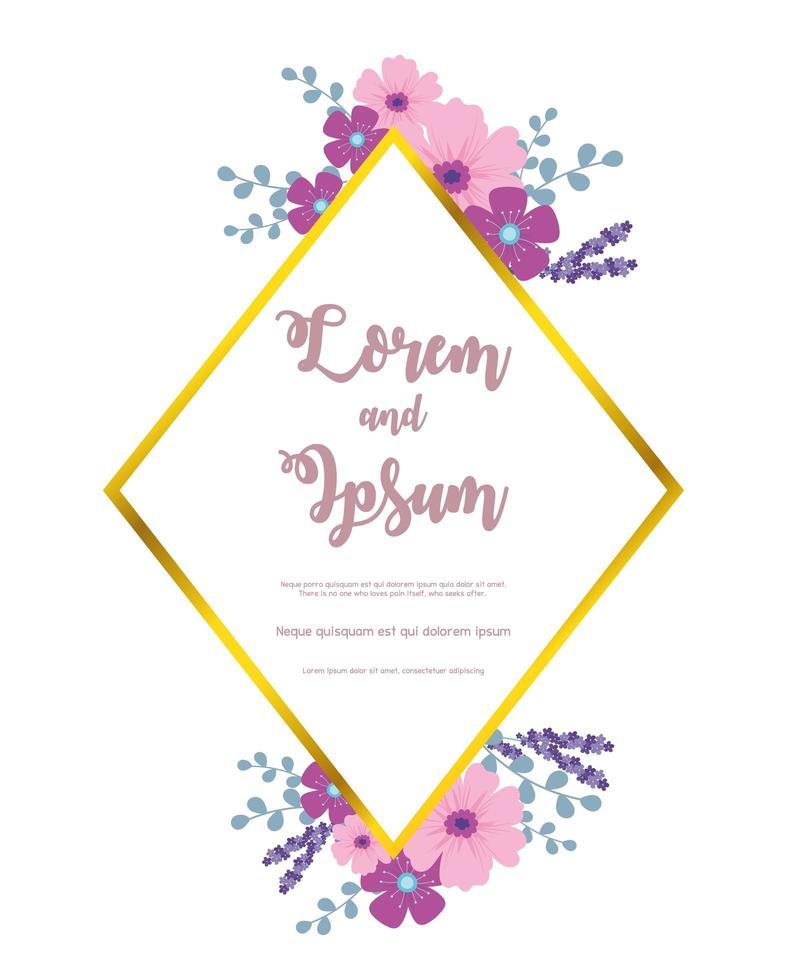 elegante Blumenhochzeitskartenschablone vektor