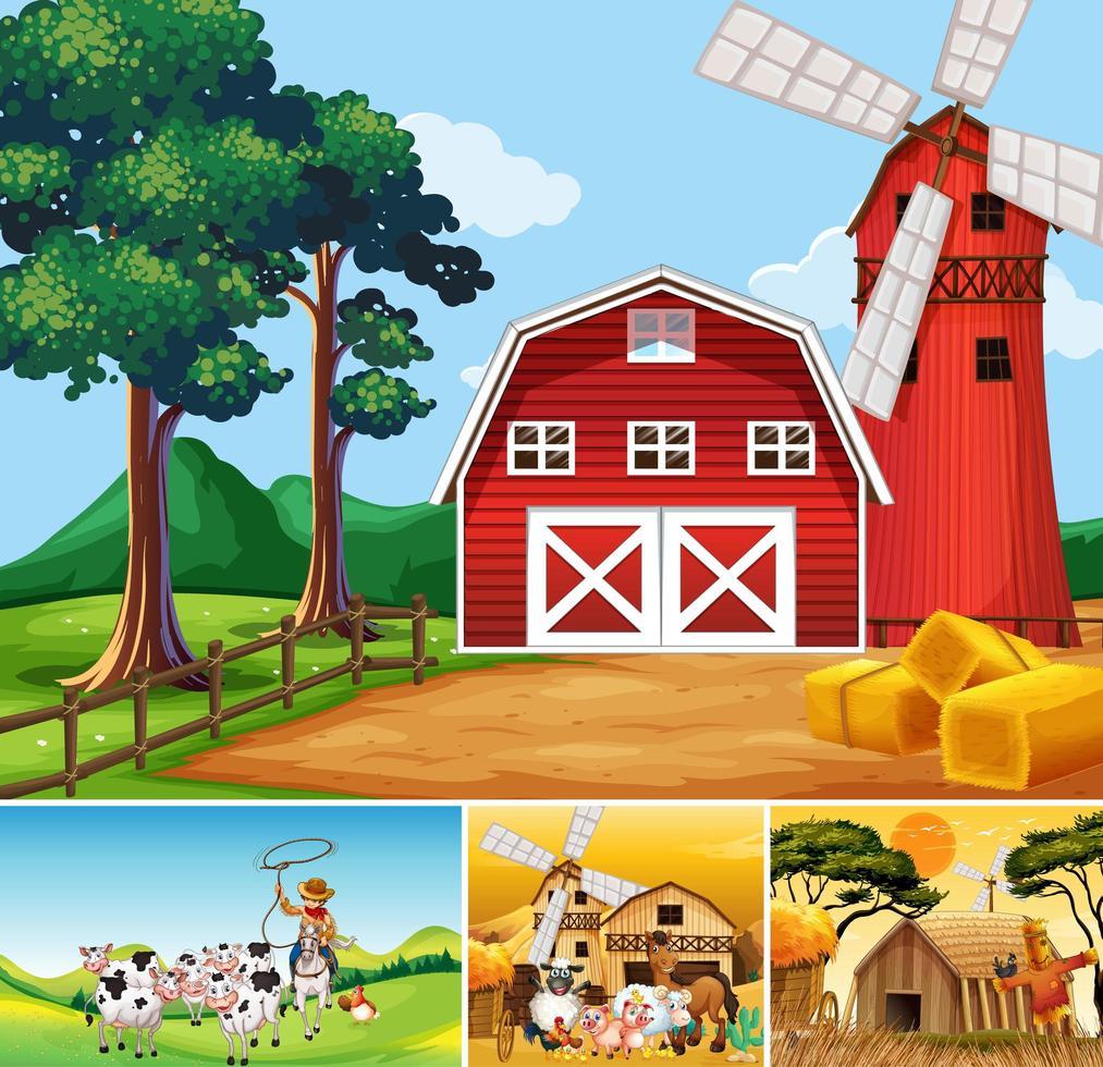 Set von verschiedenen Farmszenen und Tieren vektor