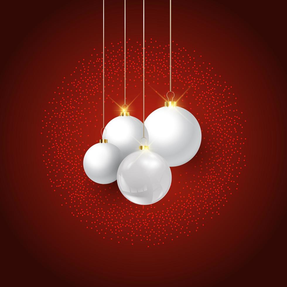 Weihnachtskugeln auf rotem Hintergrund vektor
