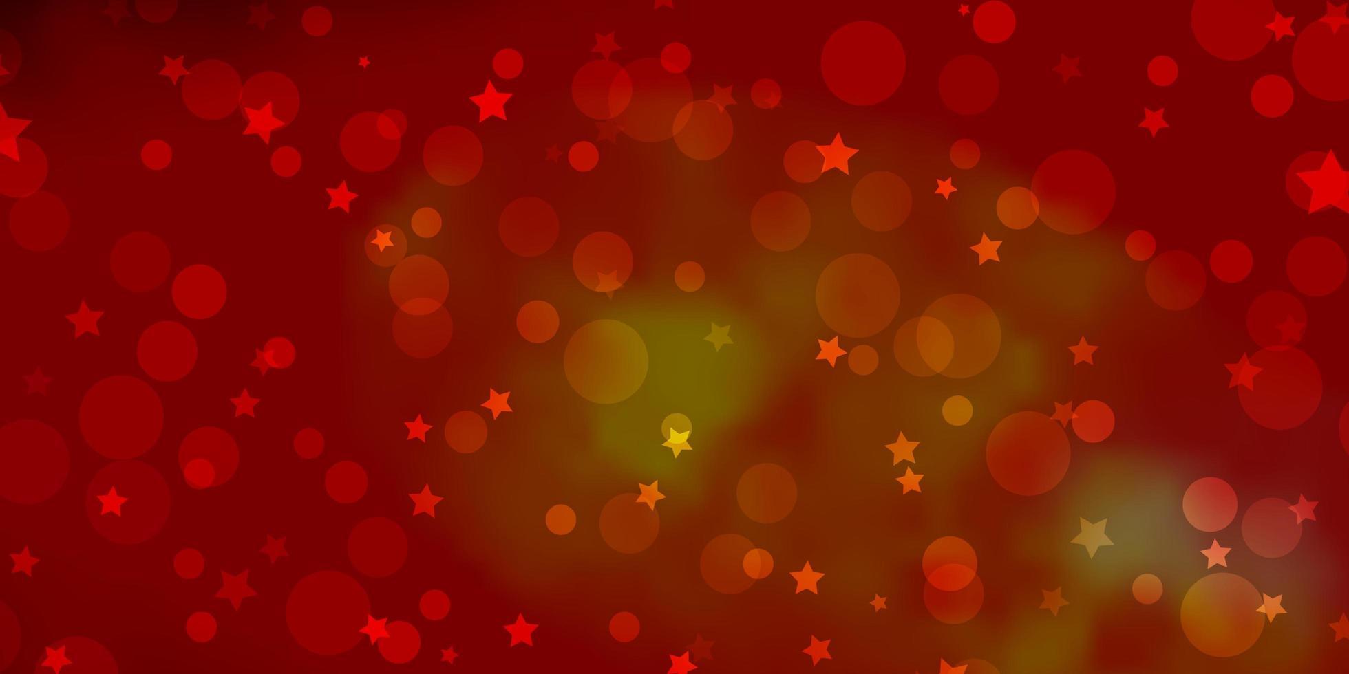 rotes und gelbes Muster mit Kreisen, Sternen. vektor