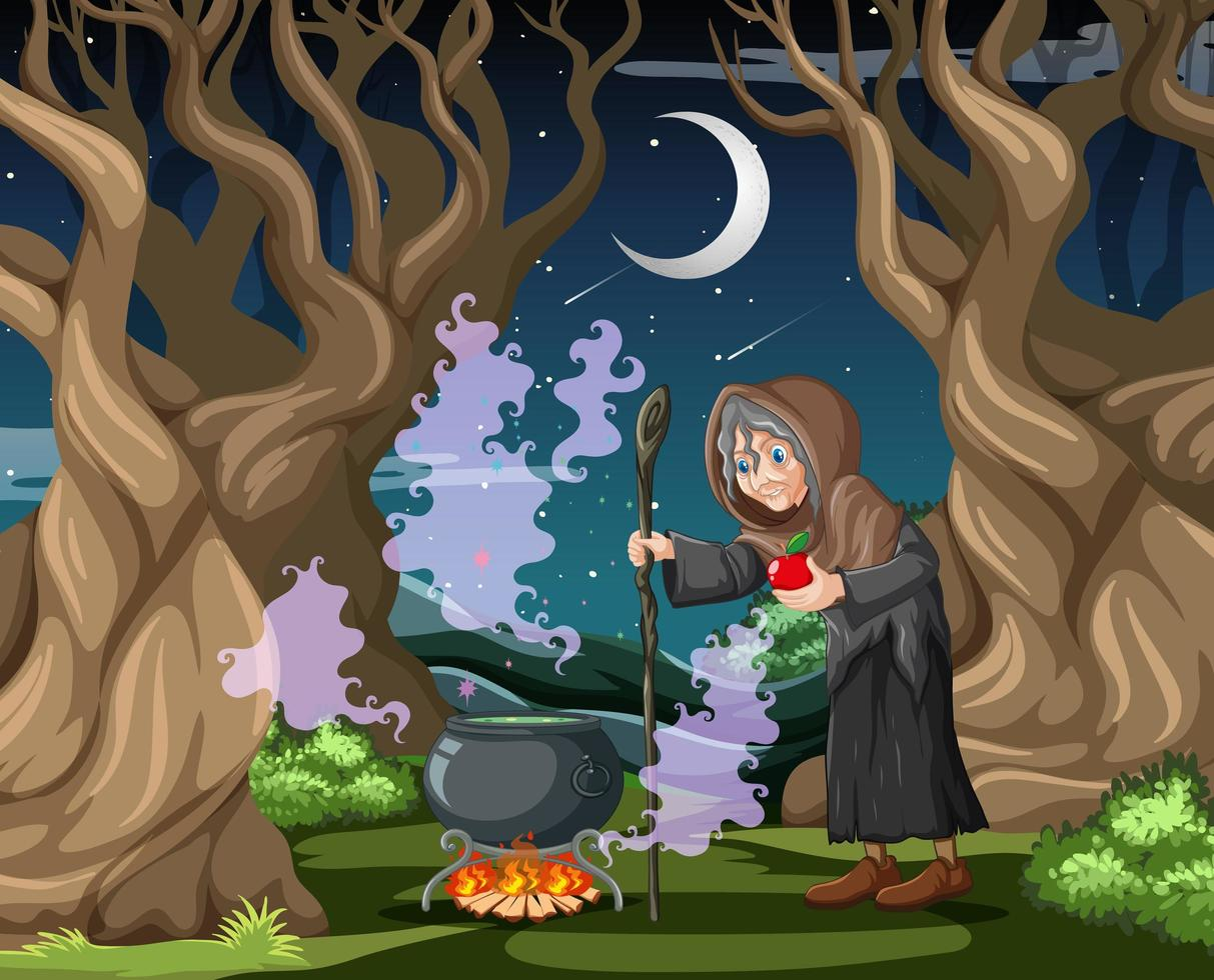 Hexe mit schwarzem Zaubertopf vektor