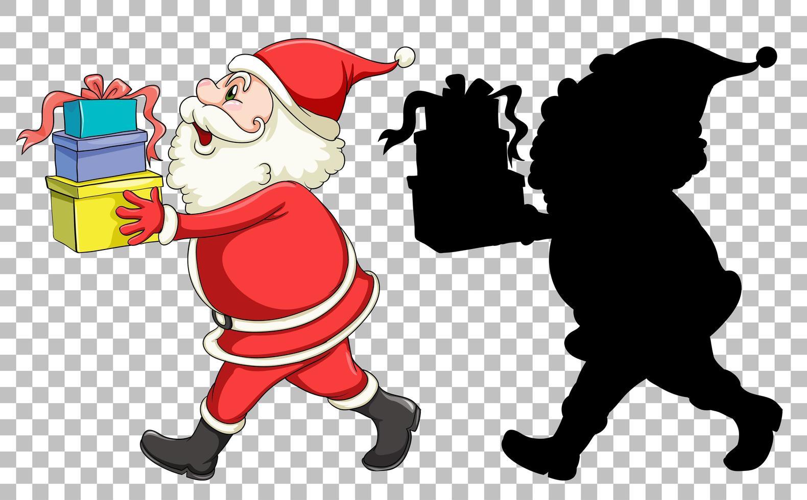 Santa hält Geschenkbox vektor
